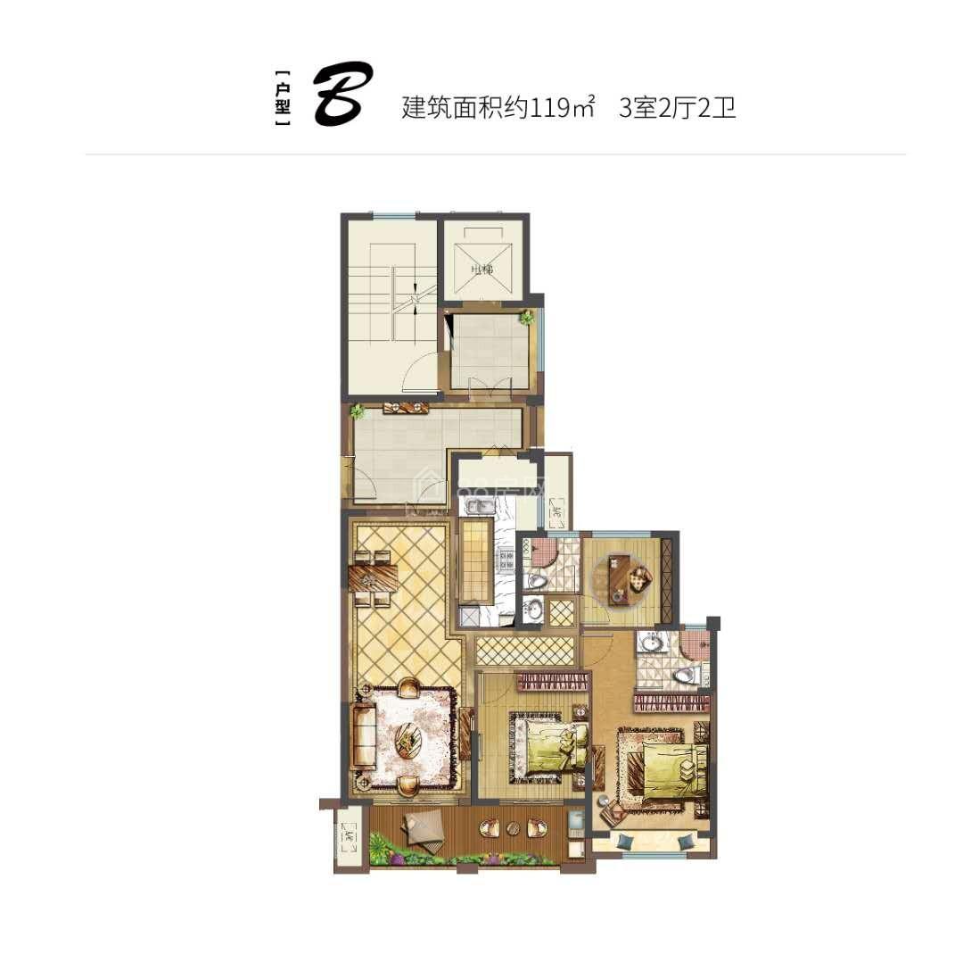 B户型三室两厅两卫