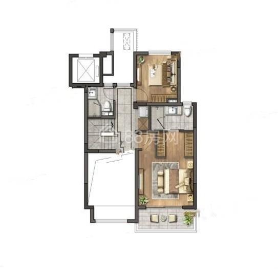 中叠两室三厅两卫