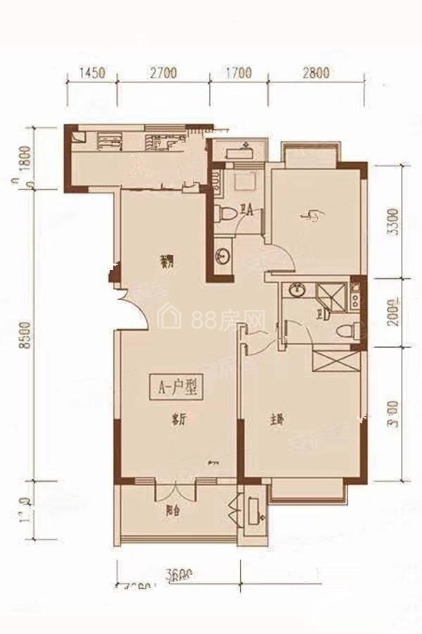 A户型两室两厅两卫