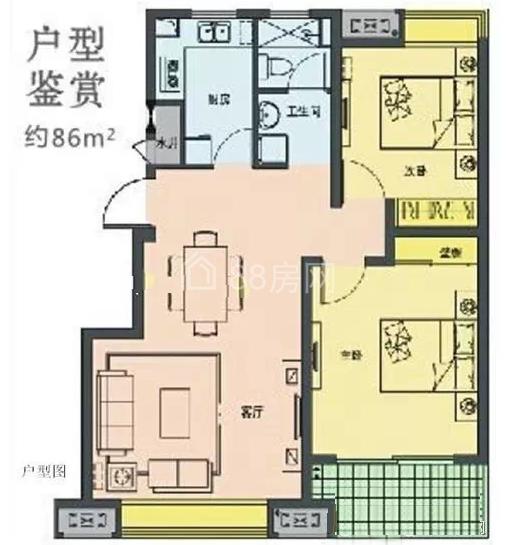 两房86平户型图