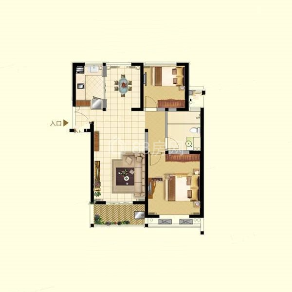 C户型两室两厅一卫