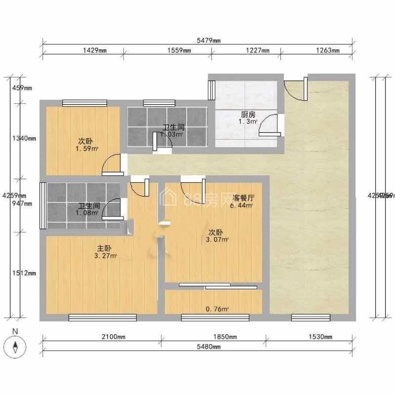 嘉丰万悦城,精装3房,清爽拎包入住,付三押一,免费带看