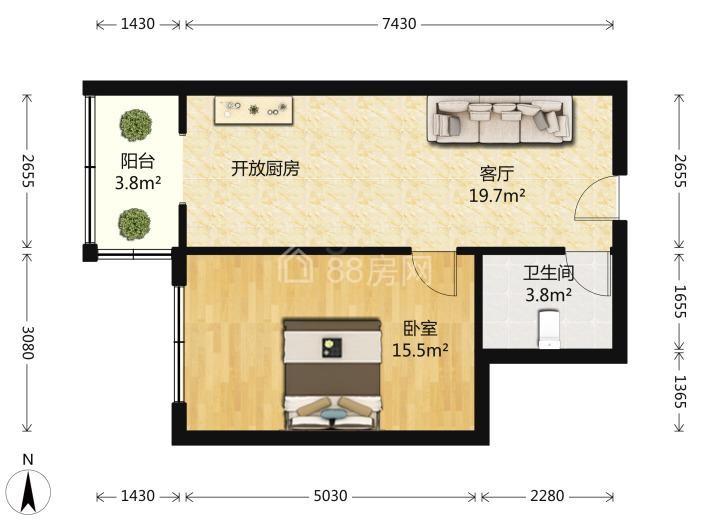 国展中心大厦 精装一室公寓 石路 广济南路地铁口 西城永捷