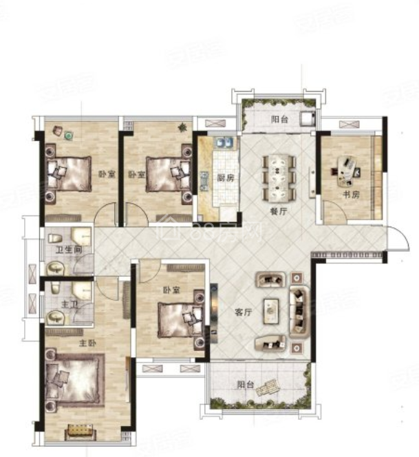 E2-02户型E2-02户型, 5室2厅2卫1厨