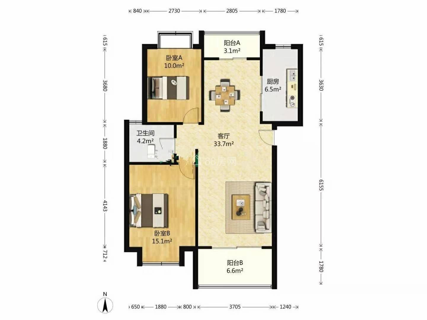 荣盛青年公寓,民用水电,精装复式两房两卫,近天虹美金,有钥匙