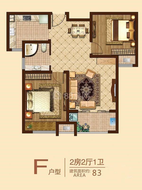 F户型两室两厅一卫