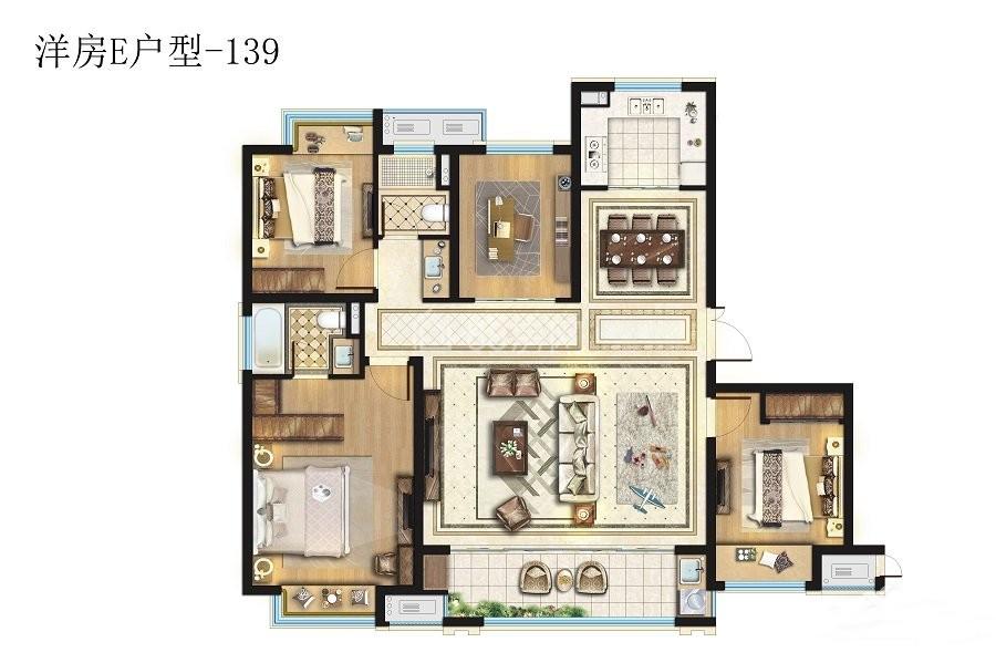 洋房E户型四室两厅两卫