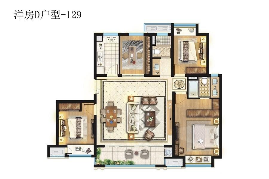 洋房D户型四室两厅两卫