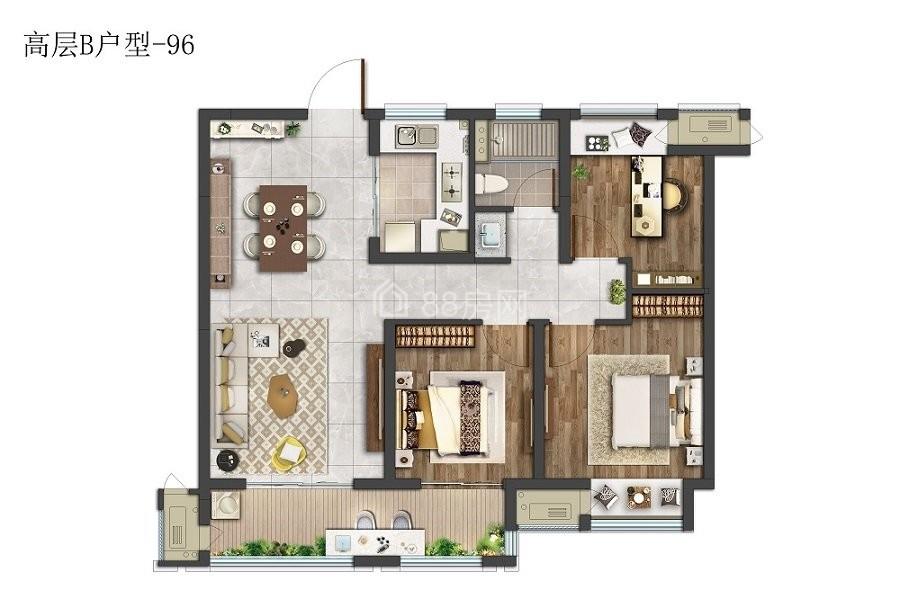 高层B户型三室两厅一卫