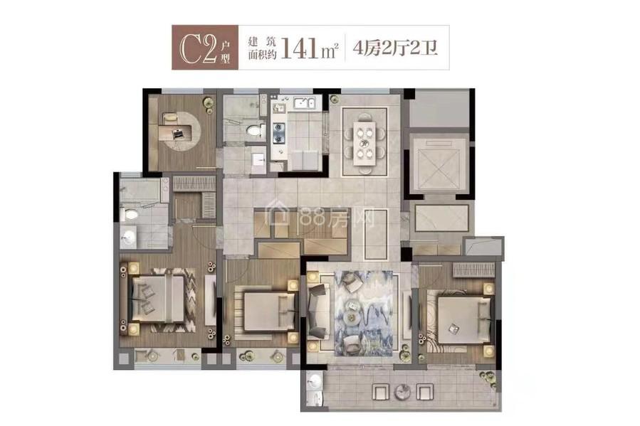 C2户型四室两厅两卫