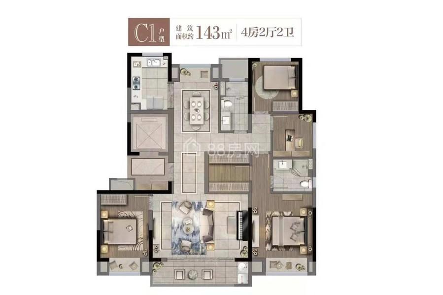 C1户型四室两厅两卫
