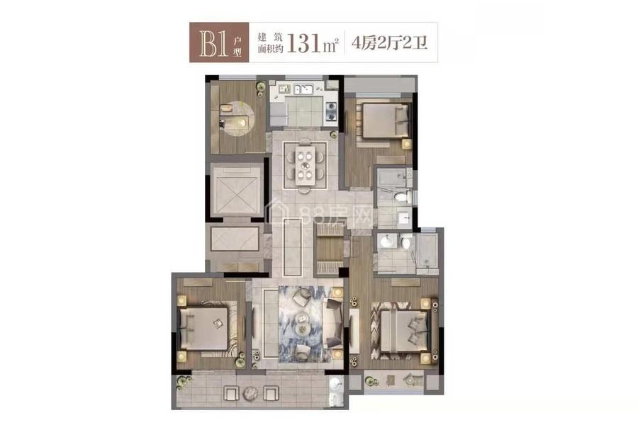 B1户型四室两厅两卫