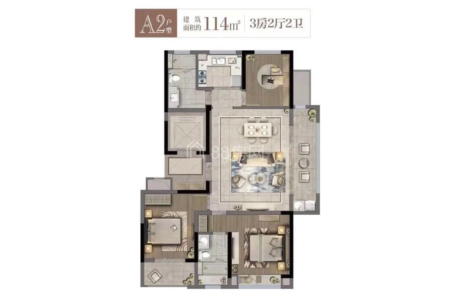 A2户型三室两厅两卫