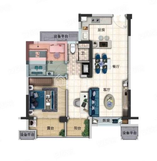 A户型两室两厅一卫