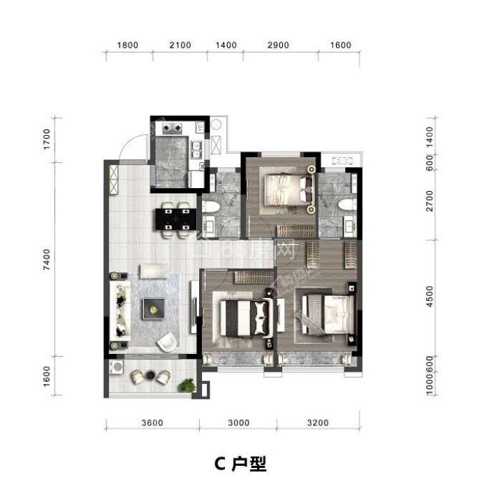 C户型三室两厅两卫