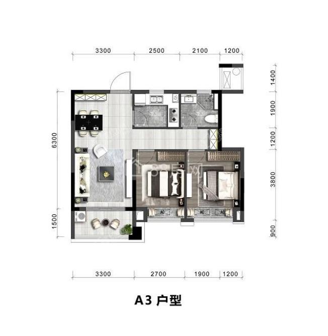 A3户型两室两厅一卫