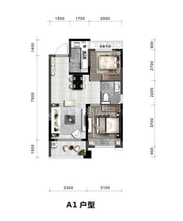 A1户型两室一厅一卫