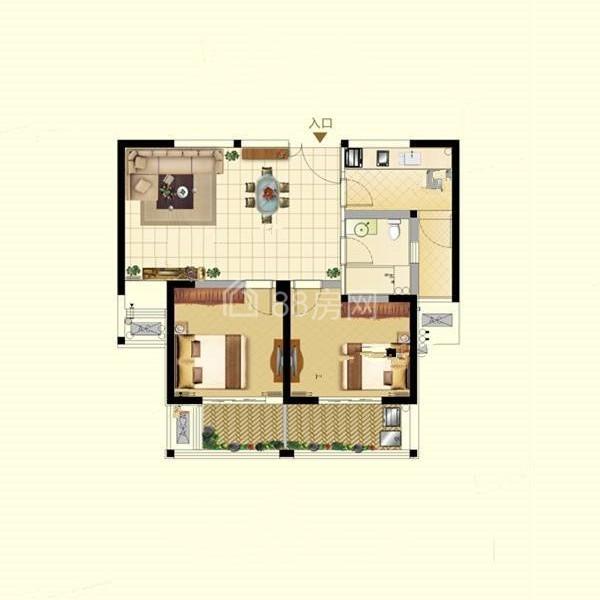 B户型两室两厅一卫